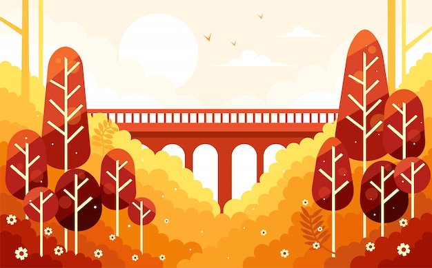 Prachtige herfst herfst landschap en de brug Premium Vector