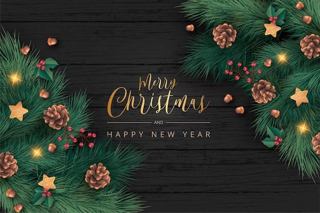 Prachtige kerst achtergrond in realistische stijl Gratis Vector