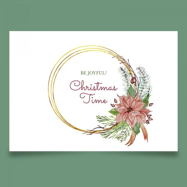 Prachtige kerst wenskaart met roze bloem Premium Vector