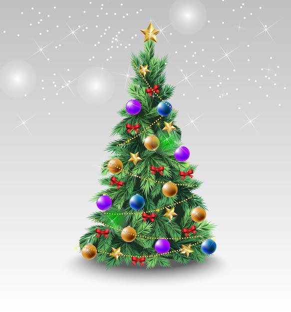 Prachtige kerstboom met kleurrijke ballen Gratis Vector