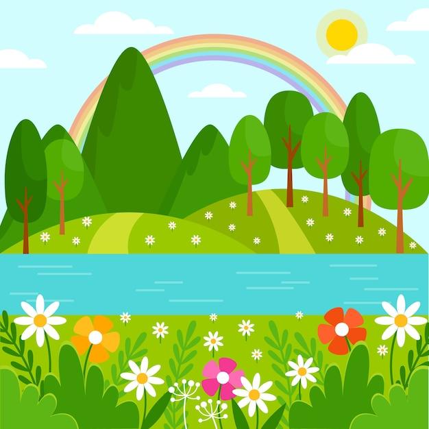 Prachtige lente landschap met bloemen en bomen Gratis Vector