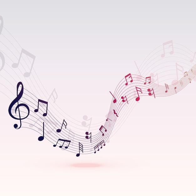 Prachtige muzieknoten golf achtergrondontwerp Gratis Vector