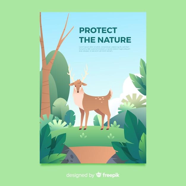 Prachtige natuur en reizen poster sjabloon Gratis Vector