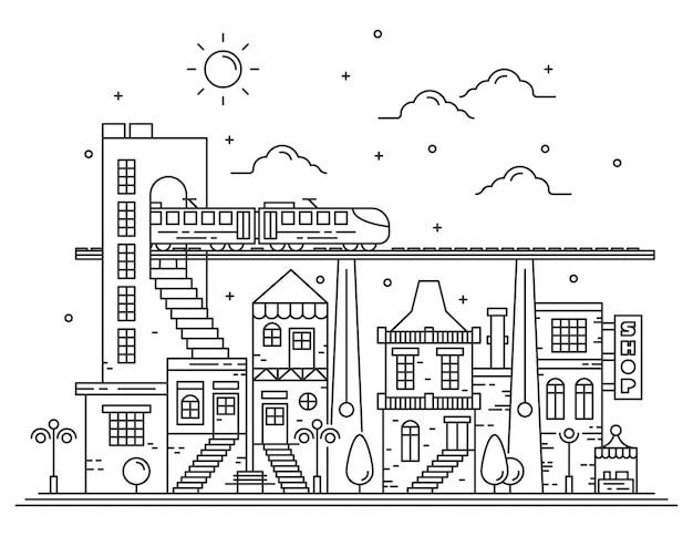 Prachtige stadszichtillustraties met dunne lijnstijl Premium Vector
