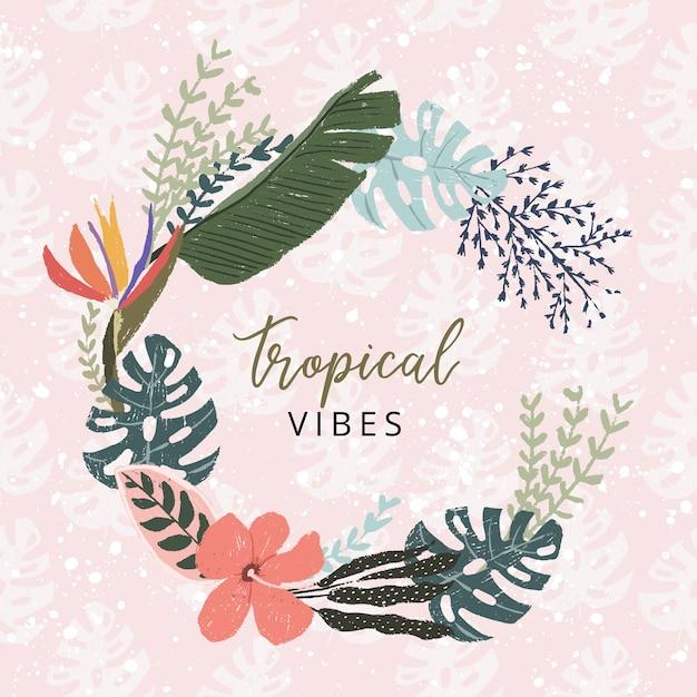 Prachtige tropische zomer bloemen krans Premium Vector