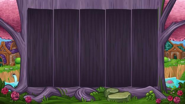 Prachtige vallei met magische paarse boom Premium Vector