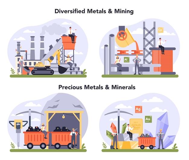 Precios metaal en mineralen, non-ferro metalen en mijnbouwset. productieproces van staal of metaal. metallurgische industrie, delfstoffenwinning. wereldwijde classificatiestandaard voor de industrie. Premium Vector
