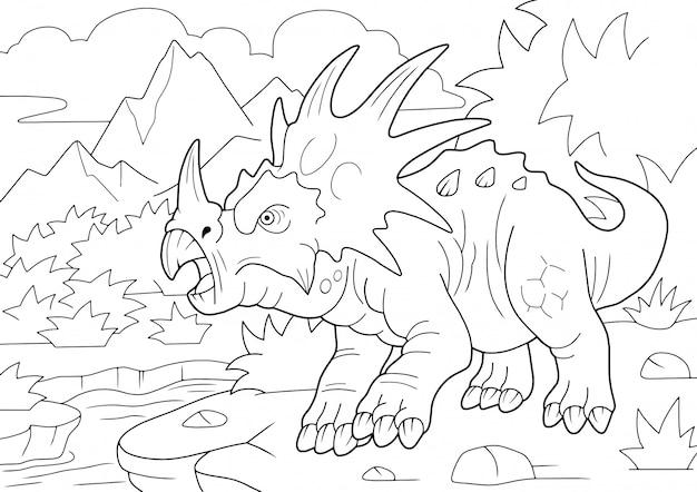 Prehistorische gehoornde dinosaurus styracosaurus, kleurboek, grappige illustratie Premium Vector