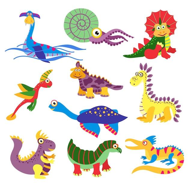 Prehistorische schattige dinosaurus illustratie geïsoleerd op een witte achtergrond. set karakters dinosaurus in gekleurde, wilde dieren dinosaurus Gratis Vector