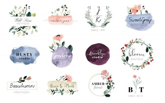 Premade logo bloemen en penseelstreek aquarel collectie Premium Vector