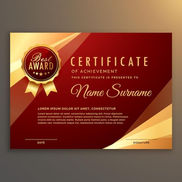Premie rode certificaat en diploma sjabloon ontwerp vector Gratis Vector