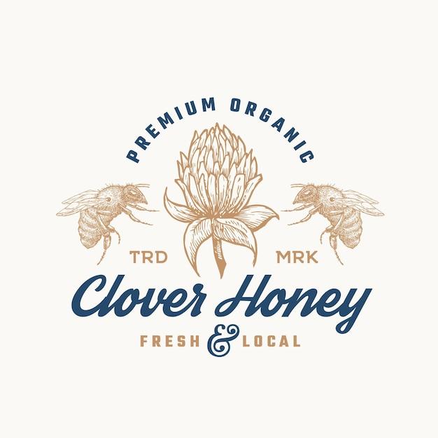 Premium biologische honing logo sjabloon. Premium Vector