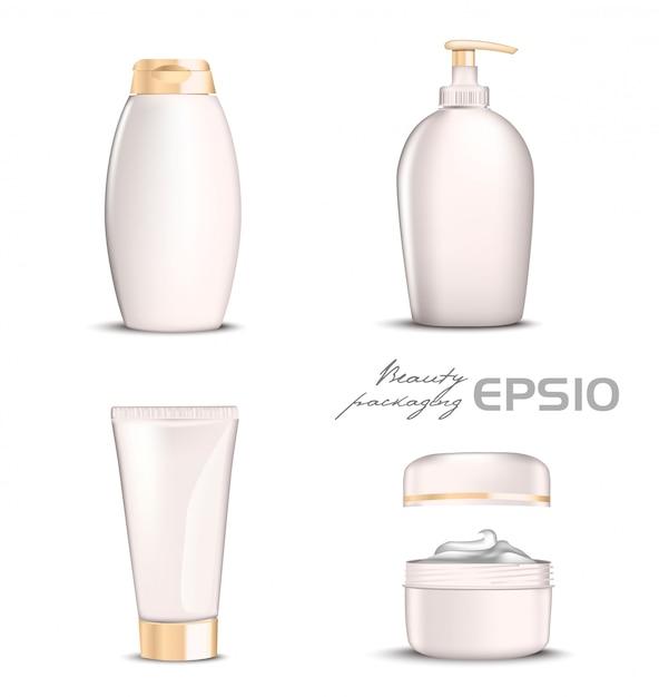 Premium cosmetica instellen licht roze kleur op witte achtergrond. illustratie fles voor shampoo, verpakking voor zeep open ronde verpakking met crème erin, tube voor tandpasta of cosmetica Premium Vector