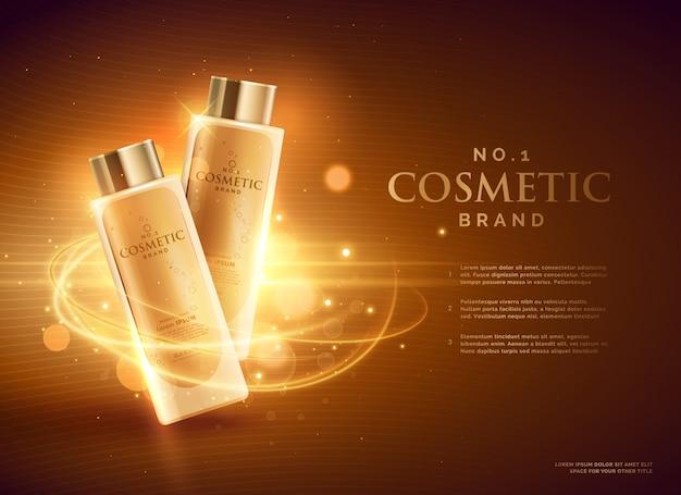 Premium cosmeticamerk reclame conceptontwerp met glitters en bokeh gouden achtergrond Gratis Vector