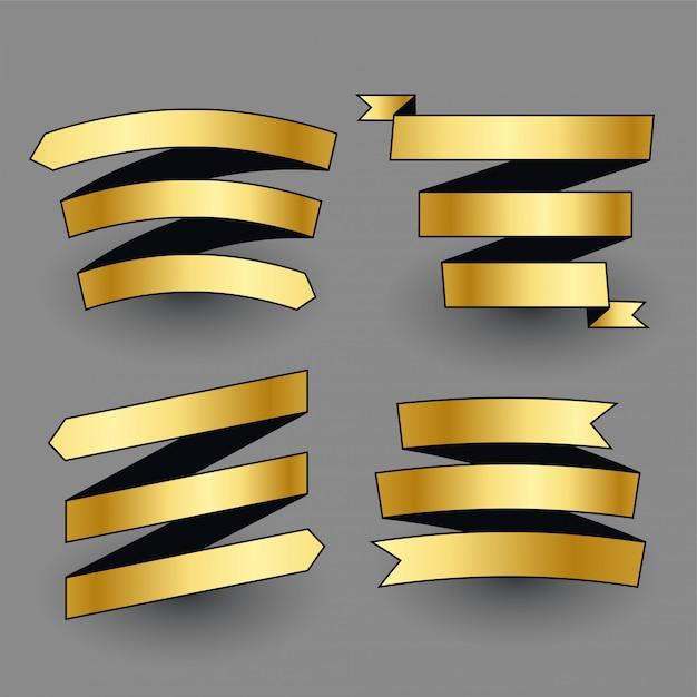 Premium glanzende gouden linten set Gratis Vector