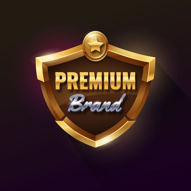 Premium golden shield-badge Premium Vector