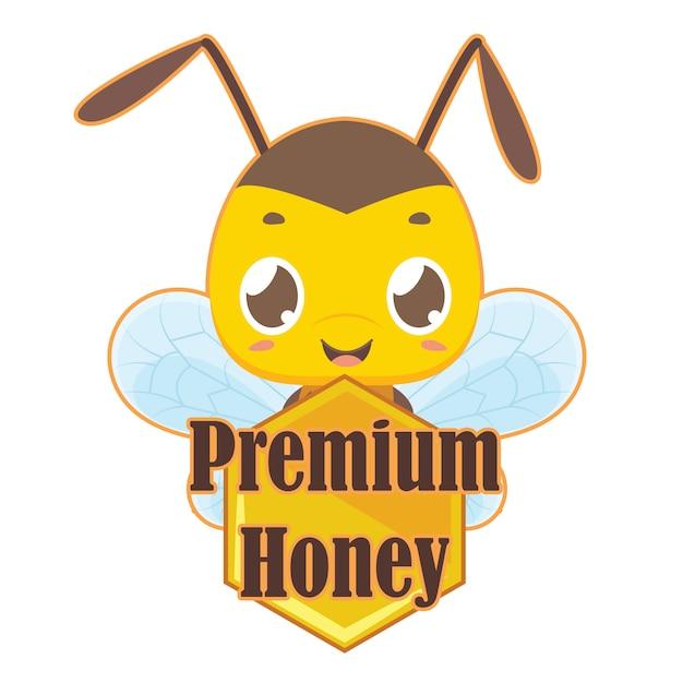 Premium-honingbadge met schattige bij Premium Vector