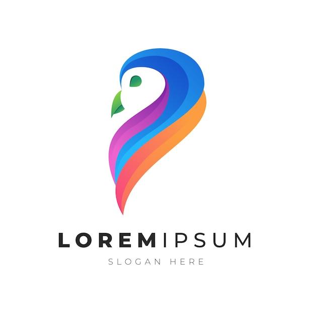 Premium illustratie van kleurrijke abstracte uil vogel logo Premium Vector