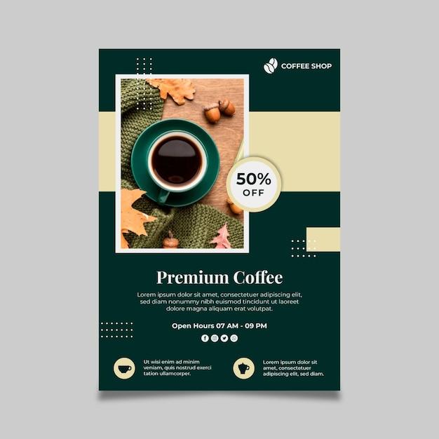 Premium koffie verticale flyer-sjabloon Gratis Vector