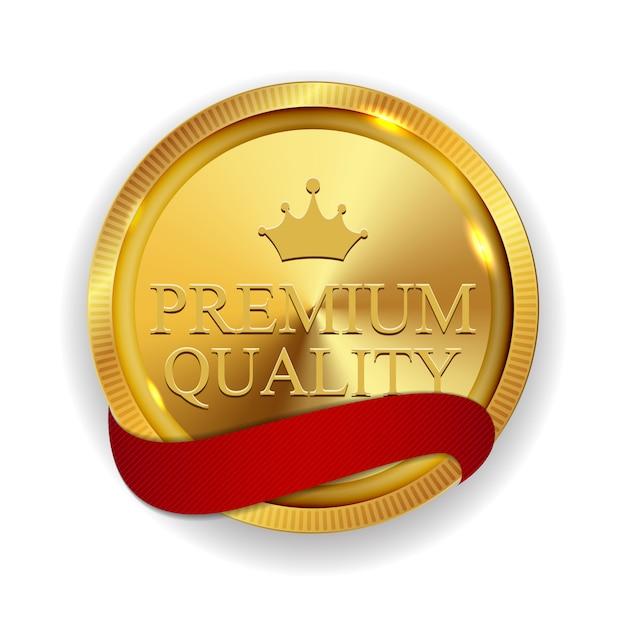 Premium kwaliteit gouden medaille geïsoleerd Premium Vector
