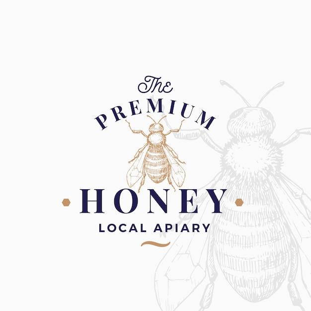 Premium kwaliteit honing logo sjabloon. Premium Vector