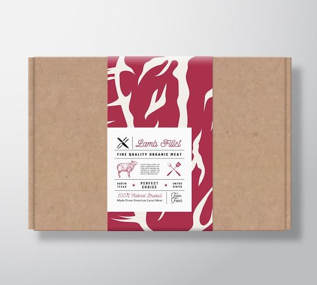 Premium kwaliteit lamsfilet ambachtelijke kartonnen doos. Gratis Vector