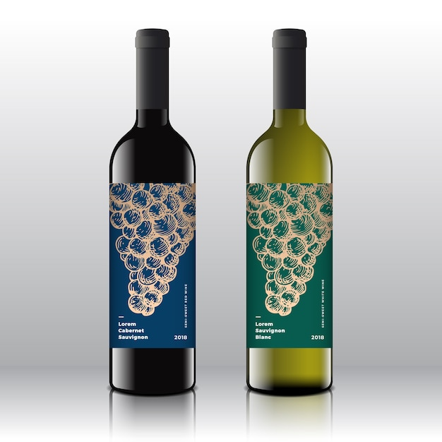 Premium kwaliteit rode en witte wijnetiketten op de realistische flessen. Gratis Vector