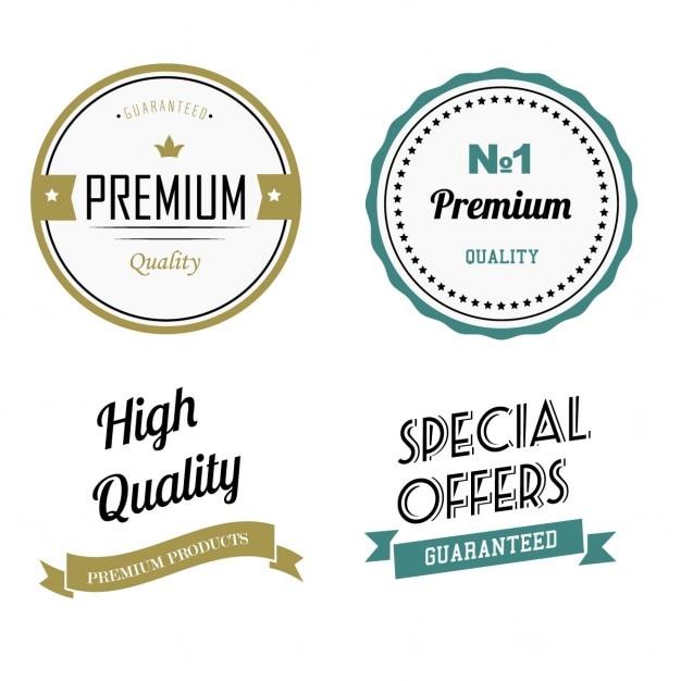 Premium kwaliteitslabels Gratis Vector
