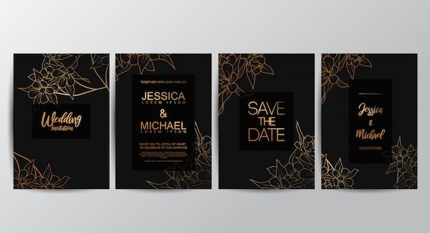 Premium luxe bruiloft uitnodigingskaarten Premium Vector