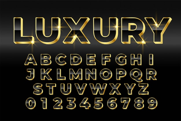 Premium luxe gouden 3d-stijl teksteffect ontwerp Gratis Vector