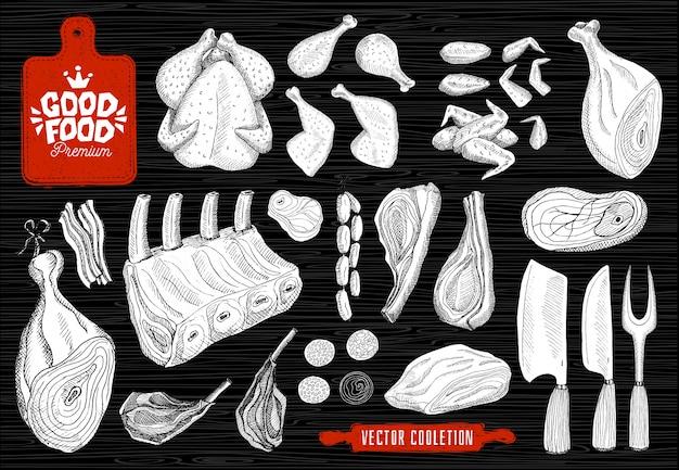 Premium markt voor lekker eten, logo-ontwerp, slagerij, vleescollectie. slagerij producten, levensmiddelenwinkel. bijl, snijplank, mes, vork, deegroller. Premium Vector