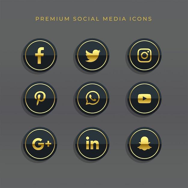 Premium set gouden sociale media iconen en logo's Gratis Vector