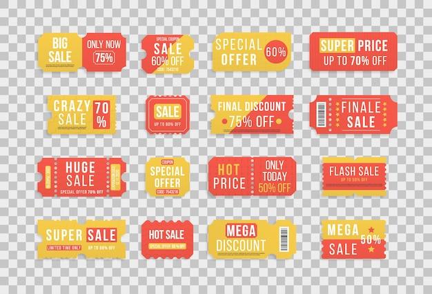 Premium speciale prijsaanbiedingen, kortingsbonnen of vouchers met de beste promo-verkoopprijs Premium Vector