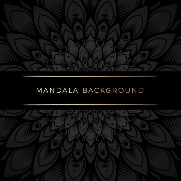 Premium zwarte mandala achtergrond Premium Vector