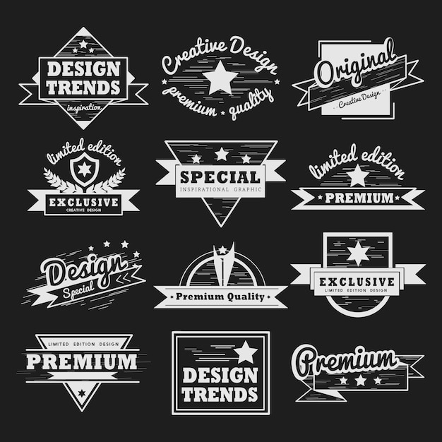 Premiumkwaliteit badge vector set Gratis Vector