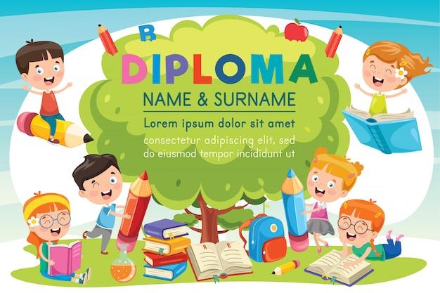 Preschool elementary school kids diploma certificate Premium Vector
