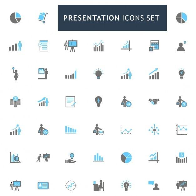 Presentatie blauwe en grijze kleur icons set Gratis Vector