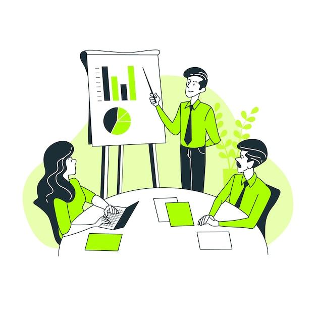 Presentatie concept illustratie Gratis Vector