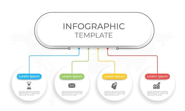 Presentatie infographic sjabloon 4 opties. Premium Vector