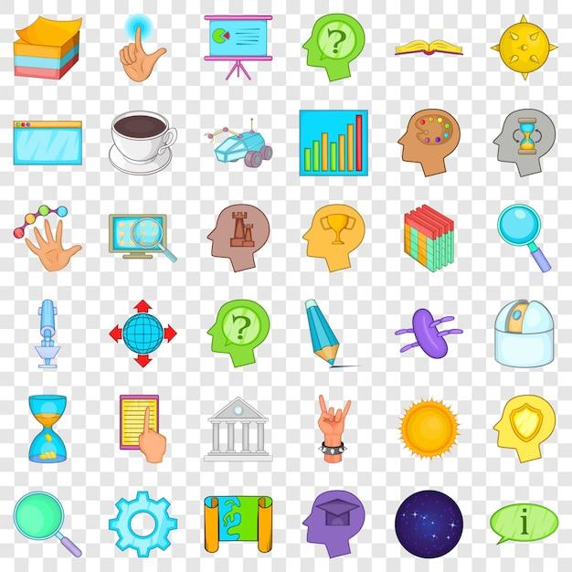 Presentatie pictogrammen instellen. beeldverhaalstijl van 36 presentatiepictogrammen Premium Vector
