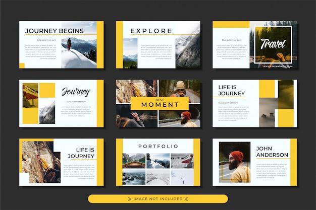 Presentatie reis- en avontuurlijke powerpoint-sjabloon met gele streepmotief, voor zaken en reisbureau. Premium Vector