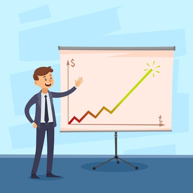 Presentatie van carrière met zakenman dichtbij whiteboard met gekleurde grafiek op geweven blauwe vectorillustratie als achtergrond Gratis Vector