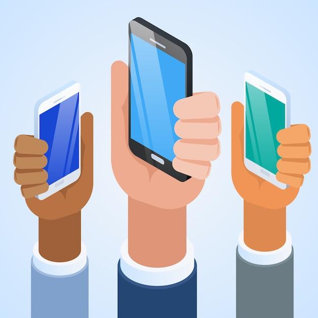 Presentatie van de nieuwe smartphone. Premium Vector