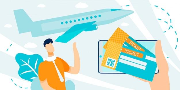 Presentatie van e-tickets boeken en kopen Premium Vector