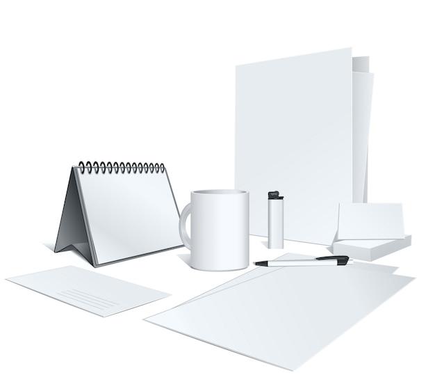 Presentatie van uw huisstijl. illustratie. lege sjabloon op wit. Premium Vector
