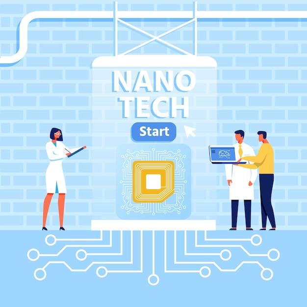 Presentatie voor nano tech center in loft style Premium Vector
