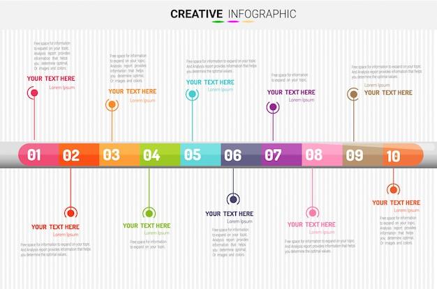 Presentatie zakelijke infographic sjabloon, 10 stappen. vector illustratie. Premium Vector