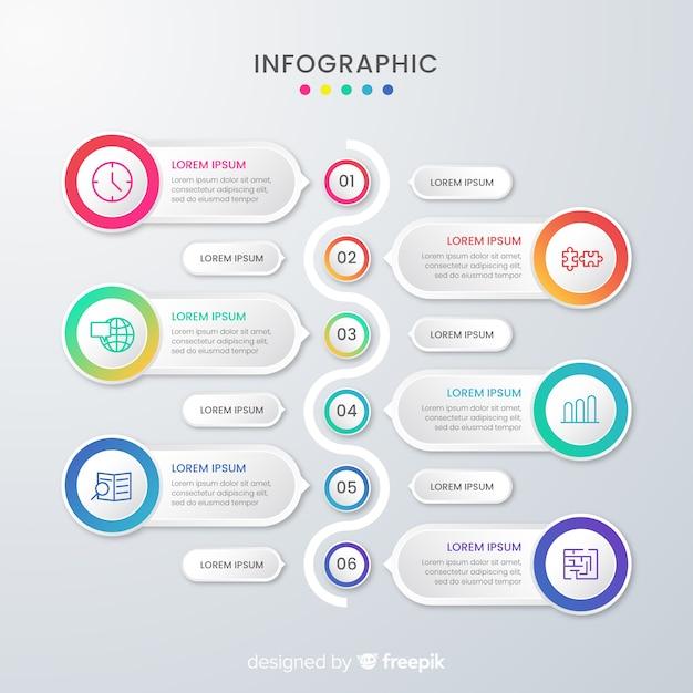Presentatie zakelijke infographic sjabloon en tekstvakken Gratis Vector