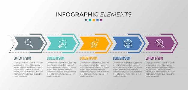 Presentatie zakelijke infographic sjabloon met 5 opties Premium Vector