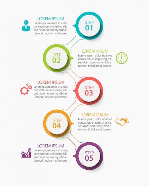 Presentatie zakelijke infographic sjabloon met 5 opties. Premium Vector